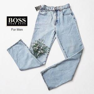 HUGO BOSS Men's Blue Denim Jean Zip Button Front